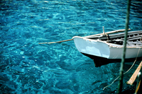 Turquoise Turkey boat resting in Aegean Sea Turkey