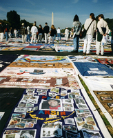 The Names Quilt unfolding of AIDS memorial quilt exhibit on the National Mall